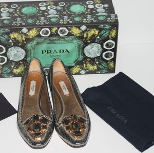 PRADA Silver Snake Leather Jeweled Flats